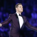 Michael Buble Performs in NYC Subway